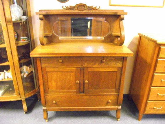 antique tiger oak sideboard buffet with mirror 1