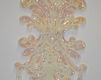 Crystal Aurora Sequin Pearl Applique