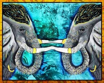 Indian Elephant of Jaipur, Gilded elephant, art, modern,india,henna,festivals,mixed media, ,ganesha,ganesh, two elephants, painting, poster