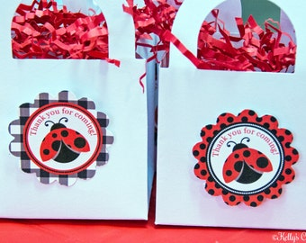 Ladybug Birthday Party 2 Inch Thank You Circles, Instant Download, Printable, Digital