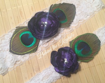 Vanessa Peacock Purple Couture Crystal Garter Set