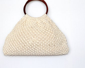 Sale- Off White knitted Purse, Hand Knit Handbag, White Cotton Clutch