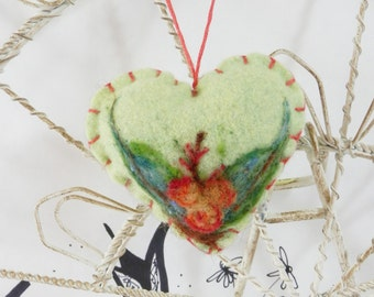 Needle felted heart ornament, Forget me not heart ornament, light green wool heart with leaves and berries, heart ornament, heart pincushion