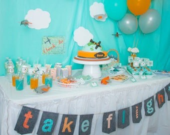Photo Props and Party Table backgrounds Party Centerpiece Airplanes and Clouds Party Table Decor Birthday Party Baby Shower Boy Art