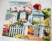 Vintage Get Well Greeting Card Unused Midcentury 50s Ephemera Quaint Cottage White Picket Fence Shabby Chic Paper 3 Fold Greeting