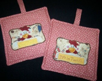 Primitive Whimsical Country Kitchen Let's Be Thankful CHICKENS Potholders Hot Pads Trivets