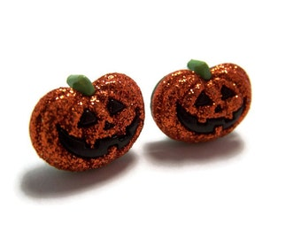 Pumpkin Jack-o-Lantern Halloween Earrings