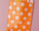 "Custom Listing for Paula: 125ct. ORANGE & WHITE Polka Dot 5-1/8""w x 6-3/8h"" Printed Paper Treat Goodie Bags"