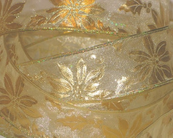 "4yds,15"" Elegant Light Gold Sheer Ribbon 2-1/2""wide Wired Gold Foil Edge Holly Berries"