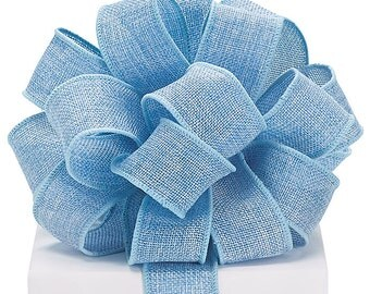 """5YDS Baby Blue BURLAP 1-1/2"""" Wired Wire Edge Ribbon (Free Shipping!)"""