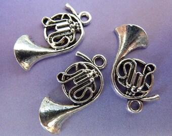 10 pendants, hunting horn, trumpet, Oktoberfest, antique silver