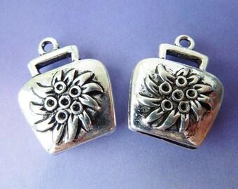 2 pendants, cowbell, Edelweiss, Oktoberfest, Dirndl, Bavarian