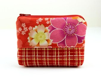 Change Wallet, Card Pockets, Gift For Her Kimono Cotton Fabric Cherry Blossoms Red