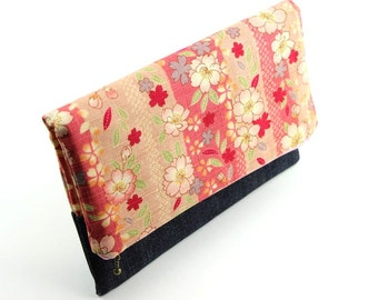Denim Clutch, Women Handbag, Evening Clutch Bag, Foldover Clutch, Cherry Blossoms Pink
