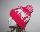 Cerise Pink Pompom Beanie Hat with White Pug Dogs