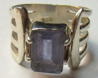 Vintage Amethyst  Ring...Sterling Silver Amethyst Ring...Domed Amethyst Ring...Size 8