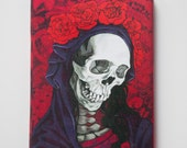 Santa Muerte in red on gallery wrapped canvas.