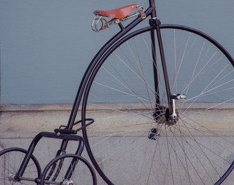 Penny Farthing Big Wheel Tricycle Bike Art Print San Francisco Photography Grey Blue Home Decor Rustic Industrial Modern Wall Art