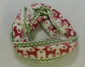 Preorder Fairisle Reindeer Knit Adult child Infant Infinity Scarf Red Green