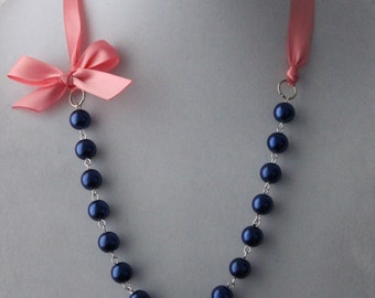 Navy Pearl and Coral Rose Ribbon Bow Necklace