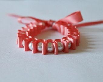 White Pearl & Coral Ribbon Bella Bracelet