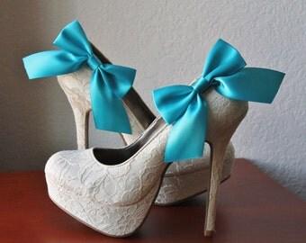 Aqua Blue Ribbon Bow Shoe Clips - 1 Pair