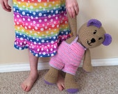 Crochet amigurumi teddy bear, stuffed animal, made to order
