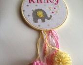 """Embroidered nursery wall art on 6"""" hoop"""