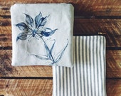 Screenprinted pouch with botanical floral print