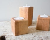 Wooden Candle Holders - Set of Three Natural Wood Candle Holder Country Woodland Wedding Tea Light Holder Centerpiece