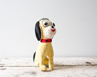 Vintage Softskin Dog Toy - Yellow - Carnival Prize 1950s Childs Toy Stuffed Animal in Vinyl Soft Skin