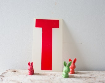 Marquee Letter T Sign - Red Marquee Plastic Letter T Vintage Marquee Letter T Vintage Letter Sign Gas Station
