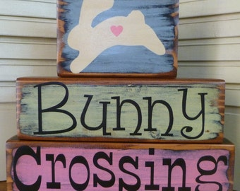 Bunny Crossing Easter Blocks Shelf Sitter Hand Painted Wood