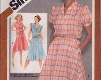Simplicity 9867, Size 10,Misses' Pullover Dress Pattern, UNCUT, Vintage 1980, Retro, Flashback, Flared Skirt, Fashion