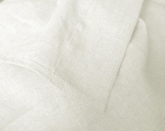 Flat Sheet 100% Linen Flax White color - Seamless Washed Softened - Top Sheet Twin Double Queen King California King - Ideal for HOT climate