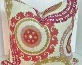 BOTH SIDES Jacquard embroidered  20 x 20 Beautiful Suzani pillow cover - Taraz Berry pink fuchsia citrine