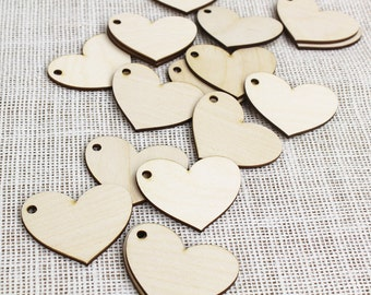 Wooden Heart Tags - Wood Birch Heart Craft Parts - Favor Tags - Wedding Favor Rustic Tags - DIY Wedding -- By Peachwik - SP1