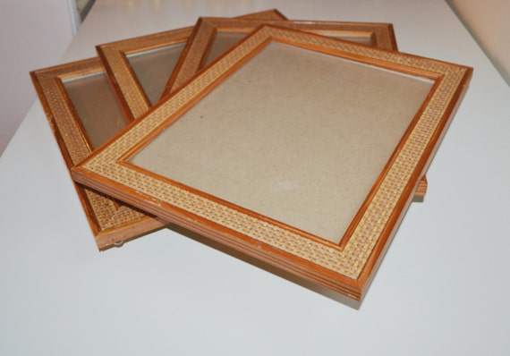 Vintage Wood Picture Frame Wicker Rattan Picture Frame