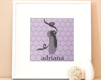 Modern Children's Paper Wall Art - Ballerina Shoe - 12 x 12 - Purple and Grey or Custom Color
