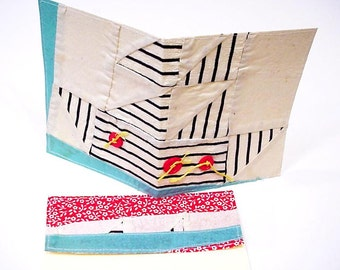 Sailboat Quilt Card, Vintage Patchwork Nautical Greeting Card, Original Quilt Top Fabric Blank Notecard itsyourcountry