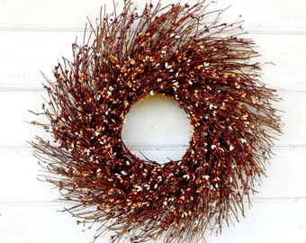 Fall Wreath-Rustic Twig Wreath-Fall Wall Hanging-BROWNIE MIX-Autumn Door Wreath-Rustic Wreath-Fall Home Decor-Custom Made Scented Wreaths