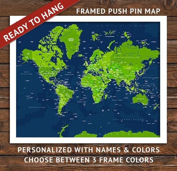 Items similar to FRAMED Push Pin map Map 20X24 Inches World Travel Honeym