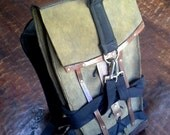 Green - Leather Backpack - insulated water pouch - OOAK