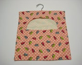 Peg/Clothespin Bag - Pink Retro Irons, Cotton Peg Bag, Laundry Day, Hanging Pegbag