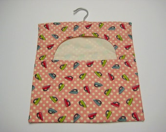 Peg/Clothespin Bag - Pink Retro Irons, Cotton Peg Bag, Laundry Day, Hanging Pegbag