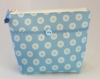 Cosmetic Organizer, Cotton Makeup Bag - Blue and White Geometric design, Small Toiletry Bag, Zipper Pouch