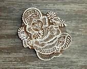 Ganesha Stamp: Elephant Stamp, Hand Carved Wood Stamp, Indian Printing Block, Lord Ganesh, Wooden Textile Pottery Stamp, Hindu God, India