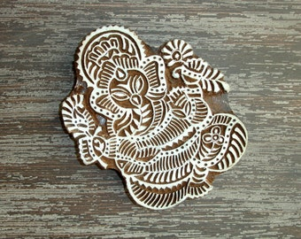 Ganesha Stamp: Elephant Stamp, Hand Carved Wood Stamp, Indian Printing Block, Lord Ganesh, Wooden Textile Pottery Stamp, Hindu God, India