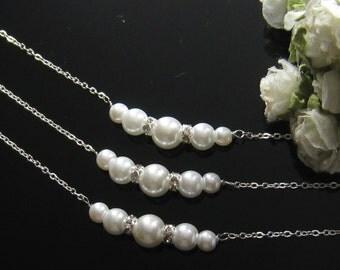 SET of 9 Rhinestone pearl necklace, bridesmaid necklace, bridesmaids gift, bridal necklace, wedding jewelry - W030