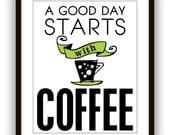 Coffee, Kitchen wall art, Coffee art print, Typography Poster, Kitchen Art Print